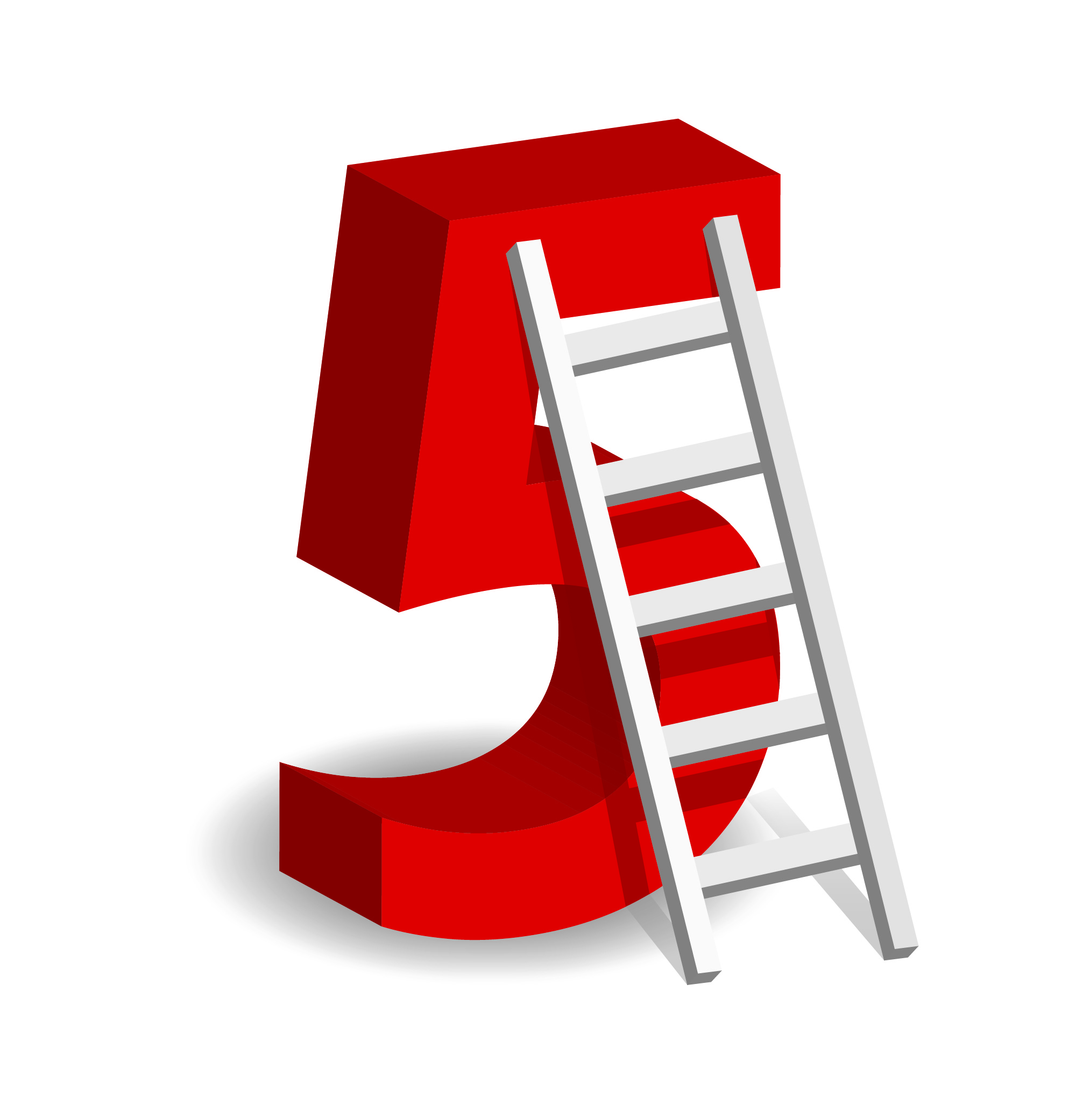A Ladder With The Number Five